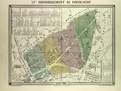 Map of the 11th Arrondissement De Popincourt Paris France--Giclee Print