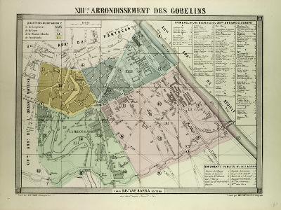 Map of the 13th Arrondissement Des Gobelins Paris France--Giclee Print