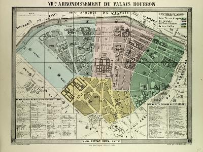 Map of the 7th Arrondissement Du Palais Bourbon Paris France--Giclee Print