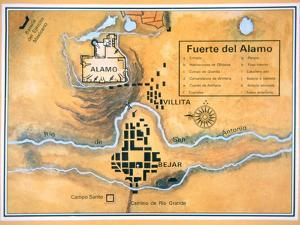 Map of the Alamo Area in San Antonio Based on Santa Anna's Original Battlefield Map, 1836