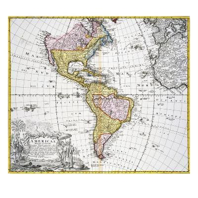 Map of the Americas by August Gottlieb Boehme-Stapleton Collection-Giclee Print