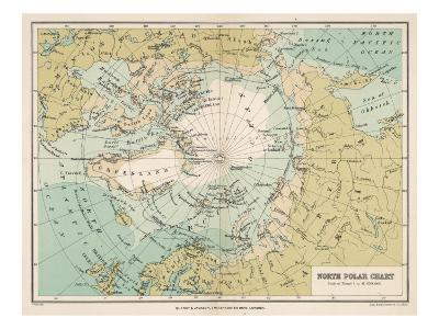 Map of the Arctic Circle and Surrounding Areas--Giclee Print