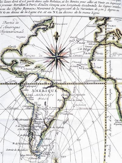 Map of the Atlantic Ocean from Newfoundland to Cape Horn, 1716-Amedee-Francois Frezier-Giclee Print