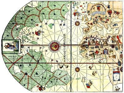 Map of the Atlantic with the New World Coast, Drawn in 1500 by Juan de la Cosa, Columbus' Pilot--Giclee Print
