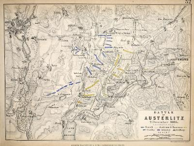 Map of the Battle of Austerlitz, Published by William Blackwood and Sons, Edinburgh and London,?-Alexander Keith Johnston-Giclee Print