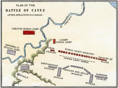 Map of the Battle of Cannae, in Which Hannibal Defeated the Romans During the Second Punic War--Giclee Print