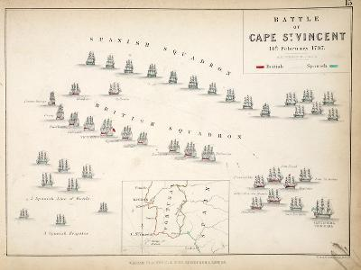 Map of the Battle of Cape St. Vincent, Published by William Blackwood and Sons, Edinburgh and…-Alexander Keith Johnston-Giclee Print