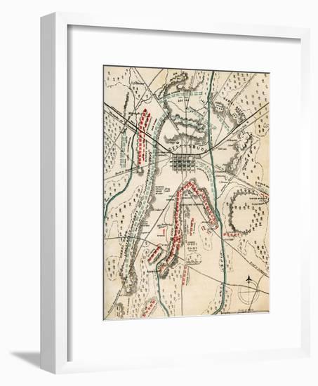Map of the Battle of Gettysburg, Pennsylvania, 1-3 July 1863 (1862-186)-Charles Sholl-Framed Giclee Print