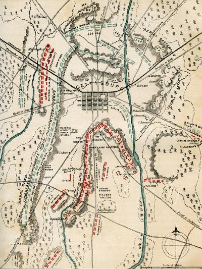 Map of the Battle of Gettysburg, Pennsylvania, 1-3 July 1863 (1862-186)-Charles Sholl-Giclee Print