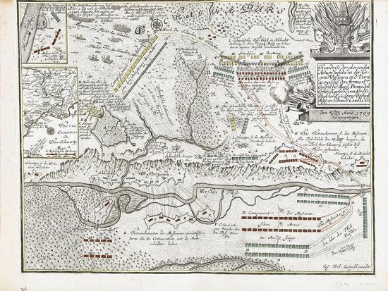 Map of the Battle of Poltava on 27 June 1709-Joseph Friedrich Leopold-Giclee Print