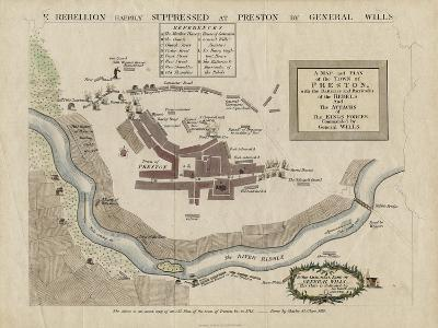 Map of the Battle of Preston of 1715, 1818--Giclee Print