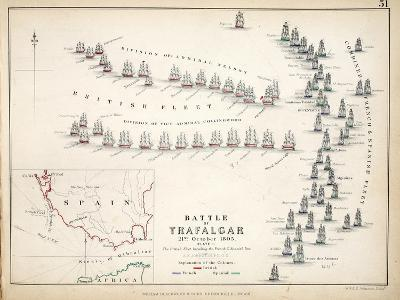Map of the Battle of Trafalgar, Published by William Blackwood and Sons, Edinburgh and London, 1848-Alexander Keith Johnston-Giclee Print