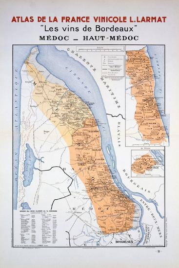 Map of the Bordeaux Region: Medoc and Haut-Medoc--Giclee Print
