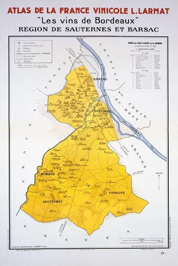 Map of the Bordeaux Region: Sauternes and Barsac--Giclee Print