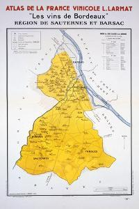 Map of the Bordeaux Region: Sauternes and Barsac