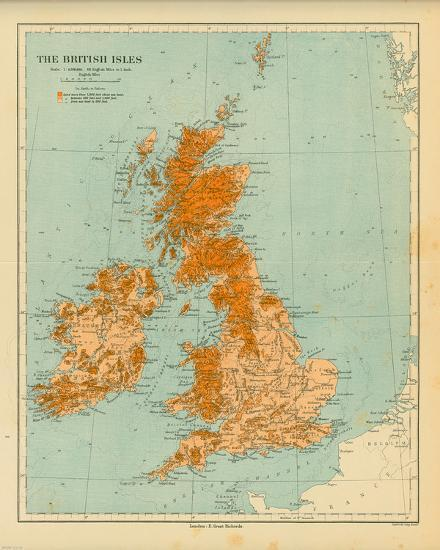 Map of the British Isles Art Print by The Vintage Collection   Art.com