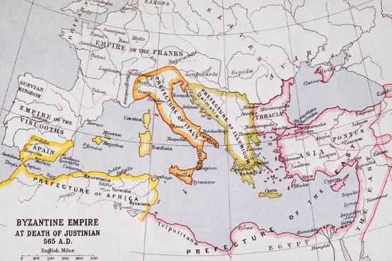 Map of the Byzantine Empire at Death of Emperor Justinian I (463-565) from 'A Literary and…-English School-Giclee Print