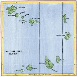 Map of the Cape Verde Islands in the Atlantic