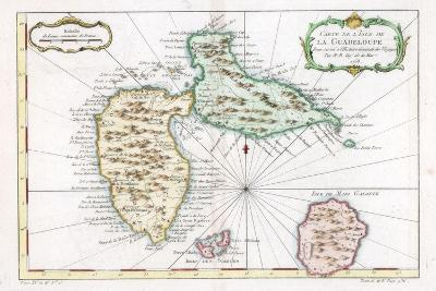 Map of the Caribbean Island of Guadeloupe, C1764--Giclee Print