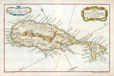 Map of the Caribbean Island of St Christopher, C1764--Giclee Print