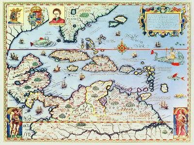 Map of the Caribbean Islands and the American State of Florida-Theodor de Bry-Premium Giclee Print