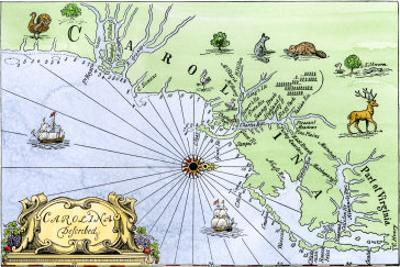 Map of the Carolinas, Showing Charleston and the Outer Banks, North on the Right