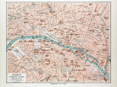 Map of the Centre of Paris France 1899--Giclee Print