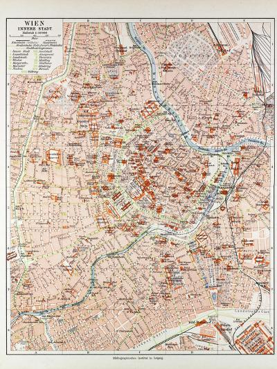 Map of the Centre of Vienna Austria 1899--Giclee Print
