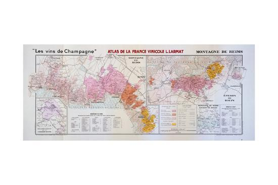 Map of the Champagne Region: Montagne De Reims and Eperon De Bouzy ...