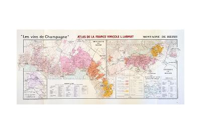 Map of the Champagne Region: Montagne De Reims--Giclee Print
