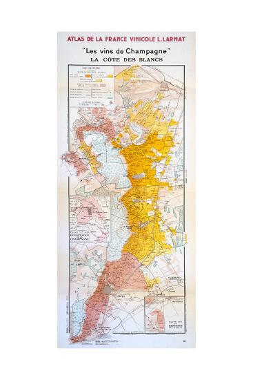 Map of the Champagne Region: the C?te Des Blancs--Giclee Print