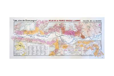 Map of the Champagne Region: Valley of the Marne--Giclee Print