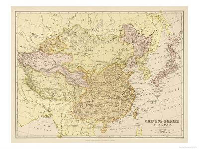 Map of the Chinese Empire and Japan--Giclee Print