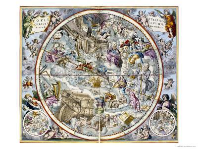 Map of the Christian Constellations as Depicted by Julius Schiller-Andreas Cellarius-Giclee Print