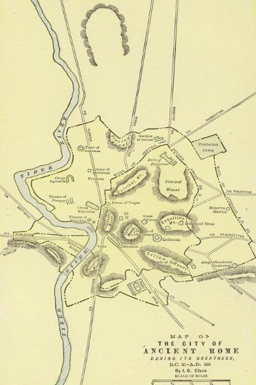 Map of the City of Ancient Rome During its Greatness, BC 30-Ad 400--Giclee Print