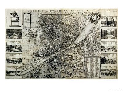 Map of the City of Florence-Wenceslaus Hollar-Giclee Print