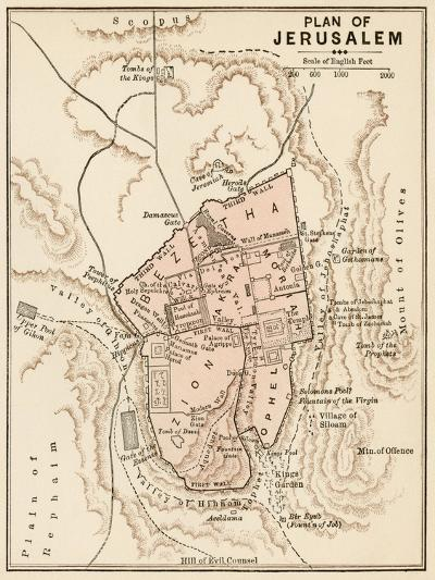 Map of the City of Jerusalem, 1870s--Giclee Print