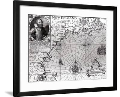 Map of the Coast of New England, Observed and Described by Captain John Smith (1580-1631) 1614-Simon de Passe-Framed Giclee Print