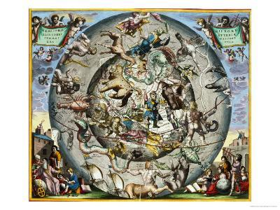 Map of the Constellations of the Northern Hemisphere-Andreas Cellarius-Giclee Print