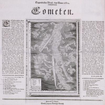 Map of the Constellations Showing Comets Visible in 1680--Giclee Print