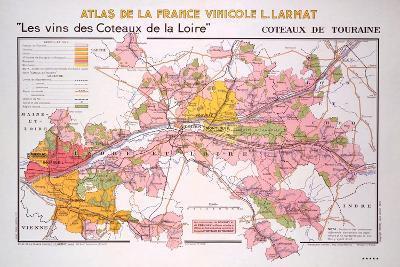 Map of the Coteaux De La Loire and Touraine Regions--Giclee Print