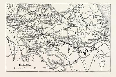 Map of the Course of the Tees. the River Tees Is in Northern England. it Rises on the Eastern Slope--Giclee Print