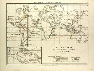 Map of the Discoveries of European Seafarers in the 15th and 16th Centuries--Giclee Print