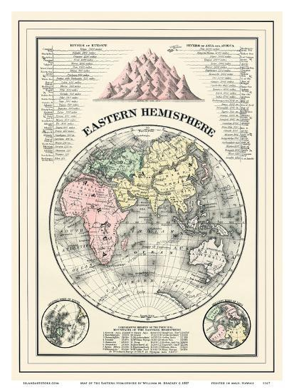 Map of the Eastern Hemisphere Art Print by William M. Bradley | Art.com