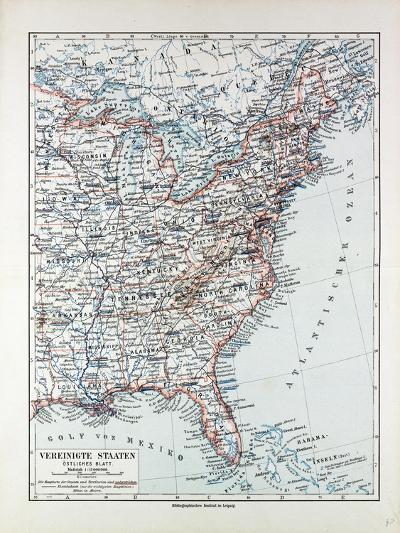 Map of the Eastern Part of the United States of America 1899--Giclee Print