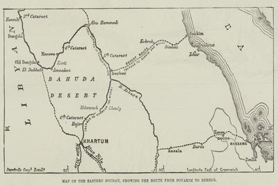 Map of the Eastern Soudan, Showing the Route from Souakim to Berber--Giclee Print