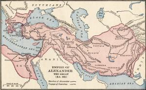 Map of the Empire of Alexander the Great in 323 Bc