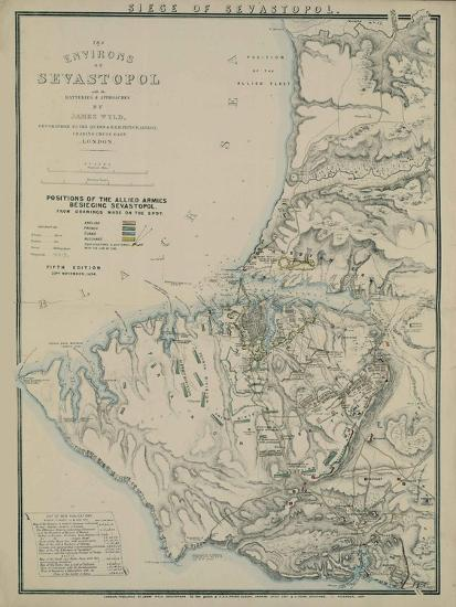 Map of the Environs of Sevastopol, 1854-James Wyld-Giclee Print