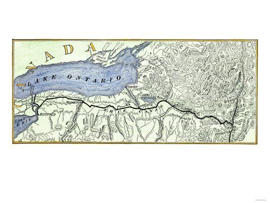 Map of the Erie Canal across New York State, 1800s--Giclee Print