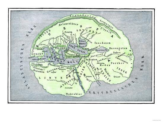 Map Of The Flat Earth According To Herodotus Ancient Greek